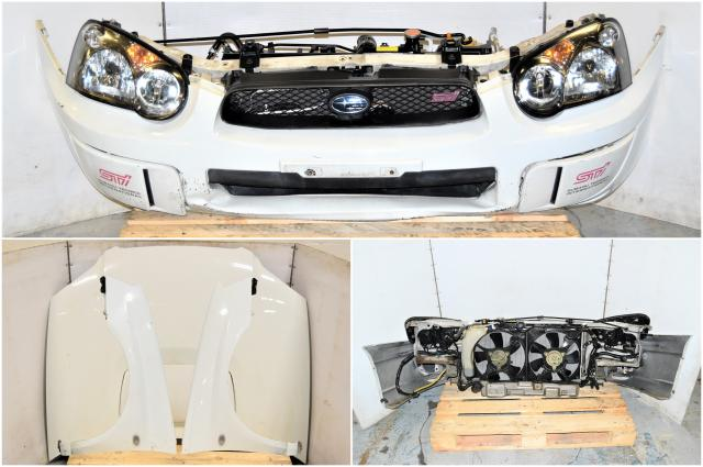 Used JDM GD White Nose Cut with Non-HID Headlights, Rad Support, Fenders, Hood, STi Grille and Radiator Assembly