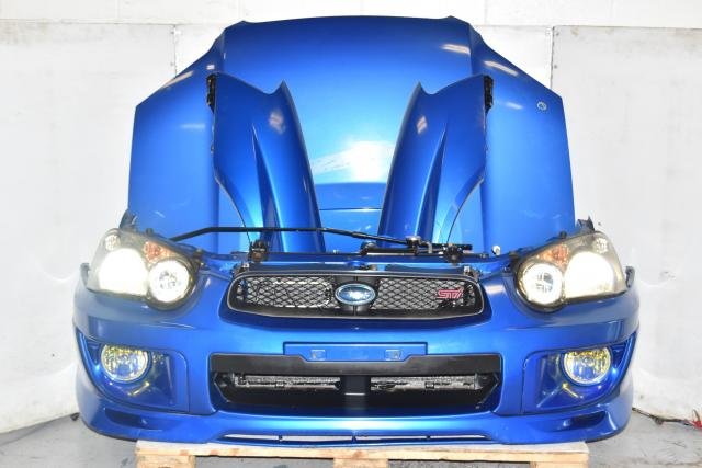 Used JDM Subaru WRX STi Version 8 Blobeye 2004-2005 Nose Cut with, Hood, Front Bumper, Grille, HID Headlights, Yellow Foglights & Rad Support