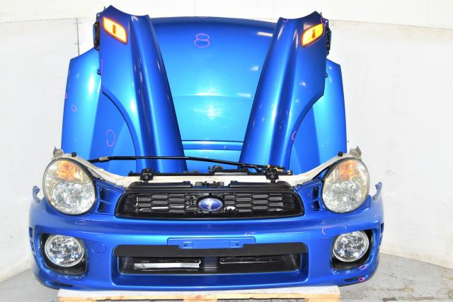 Used JDM Subaru WRX Sedan GDA 2002-2003 Version 7 Bugeye Nose Cut for Sale with Hood, Front Bumper, Rad Support & Projector Headlights