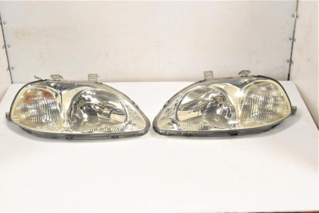 Used JDM Honda Civic Type-R 1996-1997 OEM Left & Right Headlights for Sale
