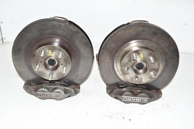 5x100 Subaru WRX 4 Pot Front Calipers with Rotors, Hubs & Backing Plates for Sale
