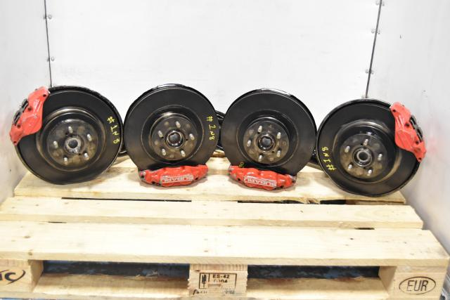 Used Subaru 4 Pot / 2 Pot Replacement Front & Rear WRX GD Red Brake Kit with Rotors & Backing Plates