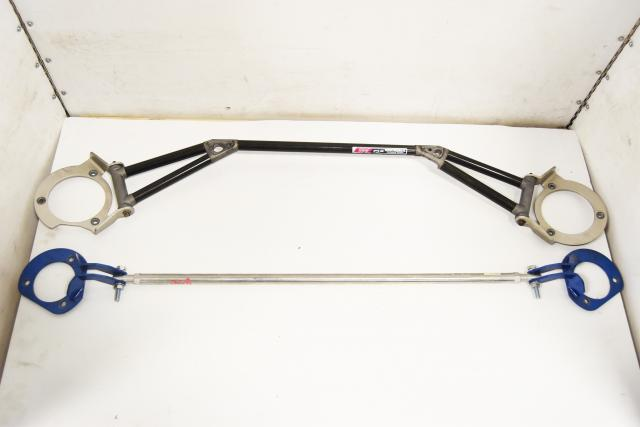 Used JDM Subaru GC8 STi Type-RA 1999 Front Carbon Fiber OEM Front Strut Tower Bar & Rear Strutbar for Sale