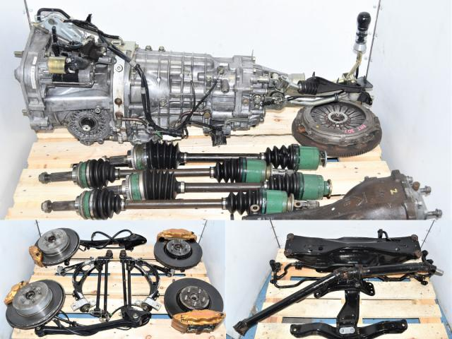 Used JDM Version 7 6-Speed STi 2002-2007 GDB Non-DCCD Transmission Package with Brembos, 5x100 Hubs, Rear 3.9 R180 Diff, Driveshaft & Axles for Sale