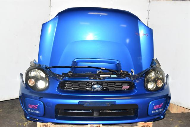 Used Subaru GGA WRX Wagon JDM Nose Cut Autobody Kit with STi Foglight Covers, Non-HID Headlights, Fenders & Rad Support MY02-03