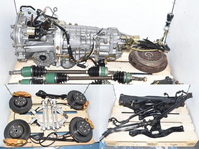 Used JDM Subaru WRX STi TY856WB6KA 6-Speed Transmission Package with 5x114 Hubs, Brembos, Control Arms, Lateral Links, Subframe, Sway Bar & R180 Rear Differential