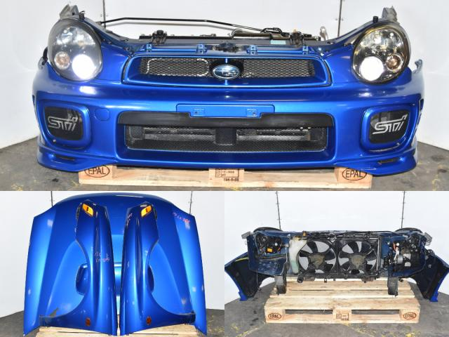 Used JDM Subaru GDB STi 2002-2007 Bugeye Autobody Front End Nose Cut for Sale with Fenders, Grille, Hood, HID Headlights & Rad Support