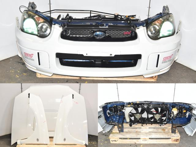 Used Subaru GDB STi 2004-2005 Blobeye Front End Nose Cut Autobody Conersion with Hood, Fenders, Rad Support, Foglight Covers & HID Headlights