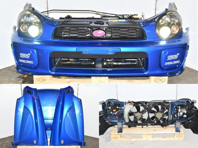 Used Subaru WRX GDB STi 2002-2003 Bugeye Nose Cut with Hood, Fenders, Rad Support, HID Headlights & Foglight Covers