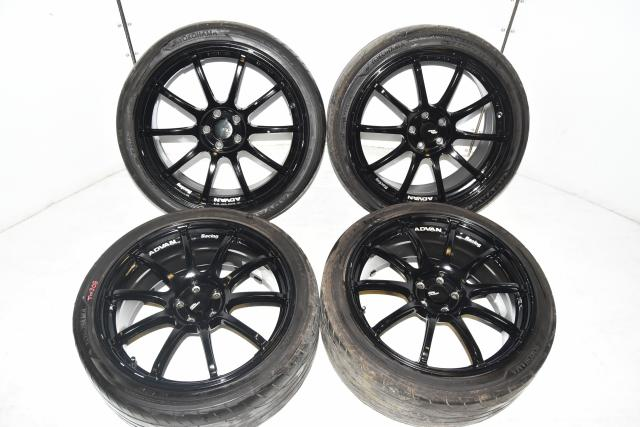 Used JDM 5x100 Advan Racing RS2 10-Spoke Black 18x8J Mags with +48 Offset