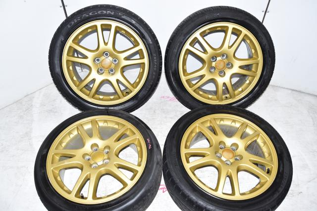 Subaru 2002-2003 WRX STi JDM 5x100 OEM Gold Subaru Version 7 Wheels for Sale
