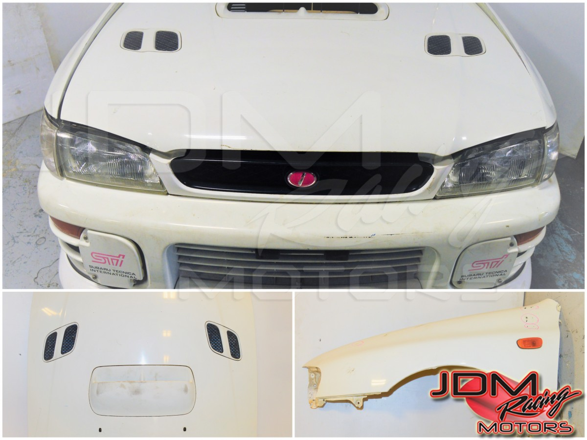 GC8 Version 4 JDM Subaru Impreza STi 1996 White Nose Cut with, Hood,  Fenders, Headlights, Foglight Covers Front Bumper Cover & Rad Support For  Sale