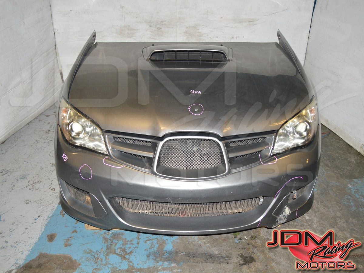 Version 9 2006 2007 Impreza WRX STI Nose Cut w/Aftermarket JDM Front Bumper in Fiber Glass