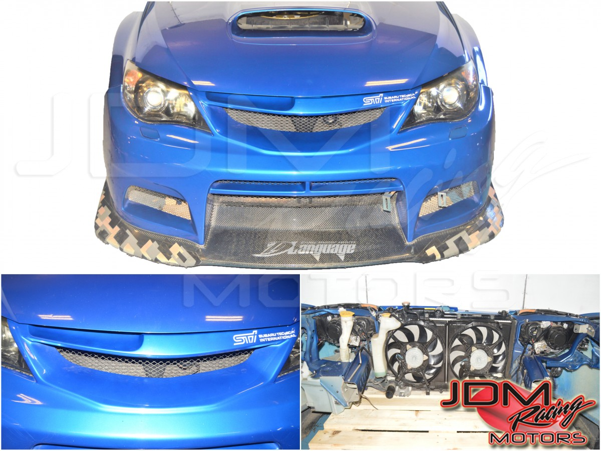 WRB Varis JDM Subaru STI Nose Cut for 2008-2014 w/Front Bumper, Carbon Fiber Lip, Fenders, Hood, Rad Support, Headlights, Grill