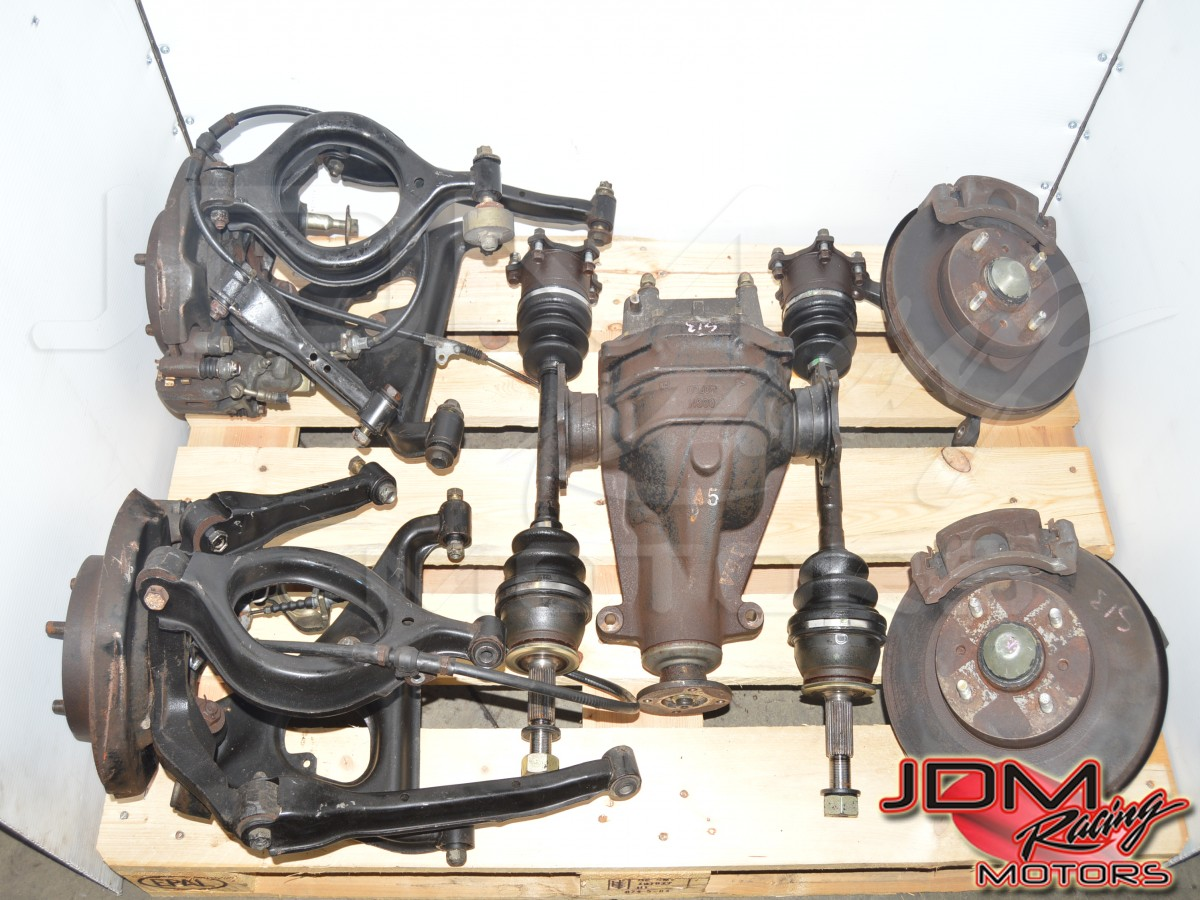 JDM Nissan S13 SR20 Complete 4 Corner 4-Bolt Brake Hub Assembly with Calipers, Axles & Rear Differential